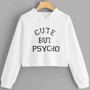 Tops - Graphic Oversize Cropped Hoodie White Size M